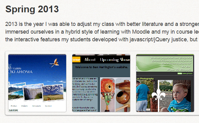 A snapshot of my student's work displayed on my hall-of-fame page for my web-design course.