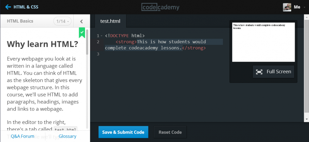 An example of a learning module in the codeacademy learning environment.